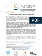 (English) Announcement on Applications of 5th World Youth Congress