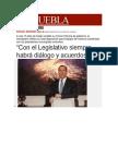 """27-01-2014 Milenio Puebla - """"Con el Legislativo siempre habrá diálogo y acuerdos"""""""