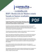 25-01-2014 e-consulta.com - RMV, Reelección de Madero estaría basada en buenos resultados