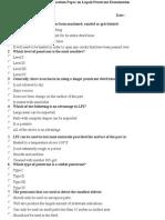 Question Paper on Liquid Penetrant Examination