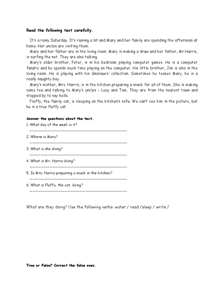 Worksheet Simple Reading Passages reading comprehension present continuous