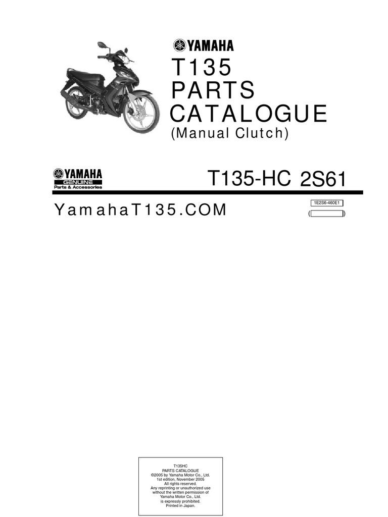 yamaha t135 hc manual parts catalogue rh scribd com Yamaha X1r Yamaha Sniper 135 Modified