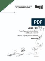 Factor Aprovechamiento Escolar (Educacion Especial USAER Y CAM 1,2 Y 3) Instructivo