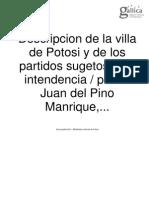 PINO MANRIQUE. Descripción de la Villa de Potosi