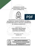 TEU - Factibilidad del uso de cemento para mampostería en la construcción de viviendas coladas insitu