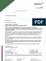 APEO Free Declaration 2013 Dystar Liquid Indigo
