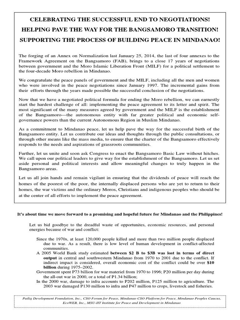 Mindanao Csos Manifesto On The Signing Of The Annex On Normalization
