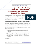 Questions which help to take Control of a conversation