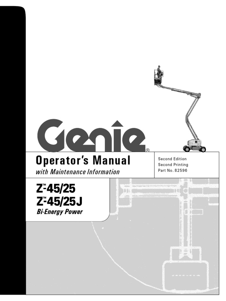 genie z45 25 j boom lifts manual battery charger switch rh es scribd com genie z45/25 operator's manual genie z 45 service manual
