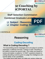 Online Coaching SSC CGL Tier 1 Reasoning Coding Decoding