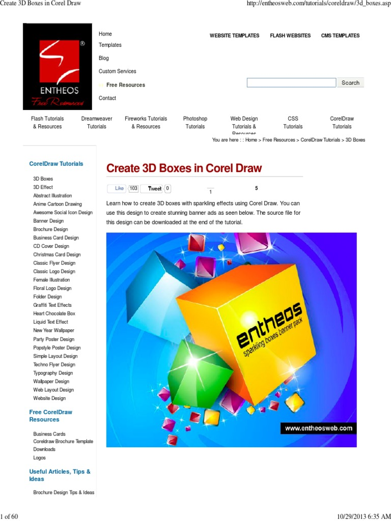 Create 3D Boxes in Corel Draw   Adobe Flash   Websites