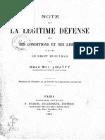 LOUFTY, Omar (1898) Legitime Defense Apres Le Doit Musulman