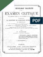 CADOZ, Francois (1870) Droit Musulman Malekite