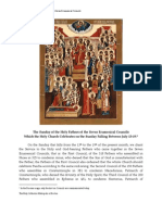 13-19 Sun Day of the Holy Fathers of the Seven Ecumenical Councils