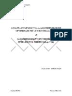 Analiza Comparativa a Algoritmilor de Optimizare Multicriteriala