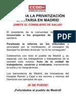 Cartel Privatizacion Madrid