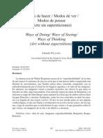 Eduardo Pellejero, Modos de Hacer, Modos de Ver, Modos de Pensar (Revista Escritura e Imagen)