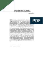 """Marco Solinas, Vite svuotate. Per una critica dell'impatto psicosociale del capitalismo contemporaneo, in """"Costruzioni Psicoanalitiche"""", X, n. 20 (2010), pp. 71-81."""