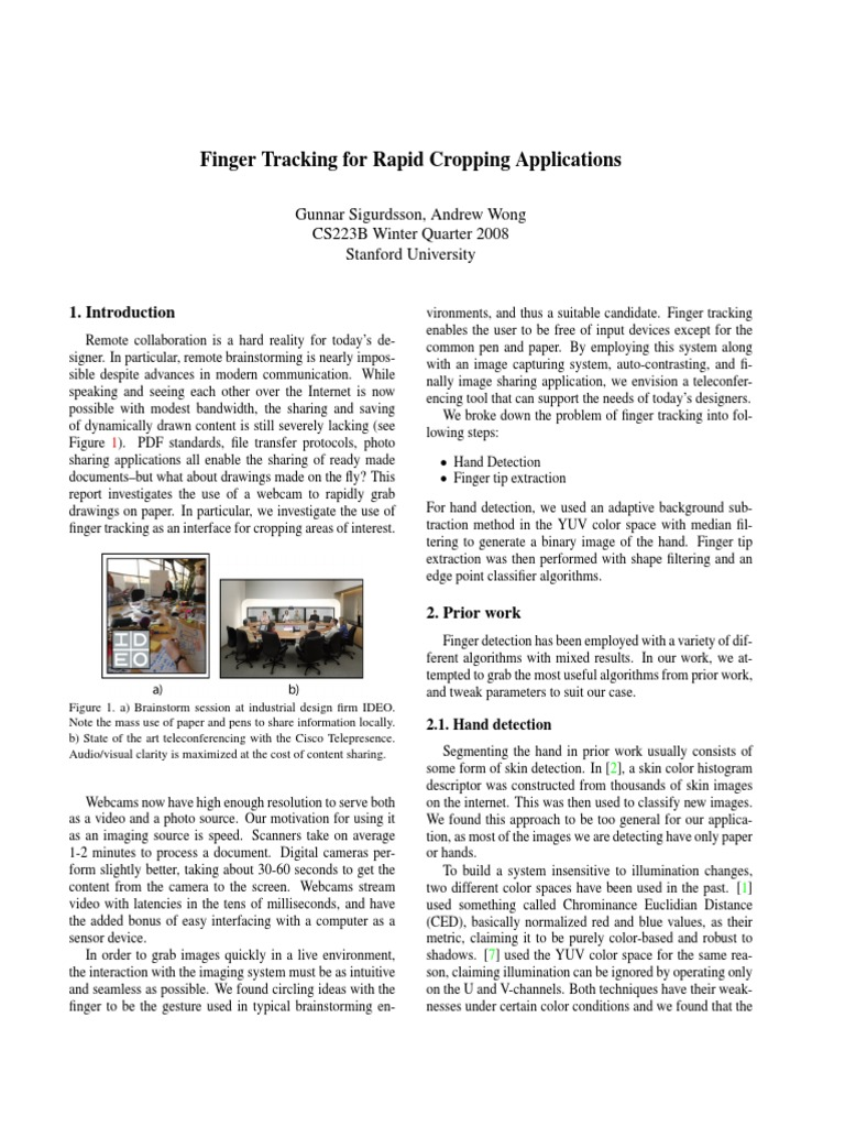 Finger Tracking for Rapid Cropping Applications | Image