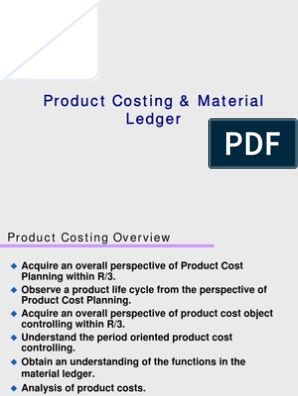Product Costing Material Ledger ppt | Inventory | Valuation