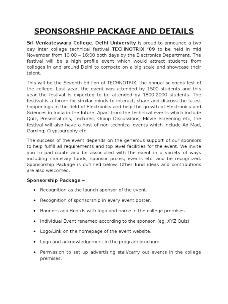 Sri venkateswara college tech fest sponsorship letter stopboris Image collections