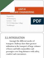 Unit-III Railway Engineering