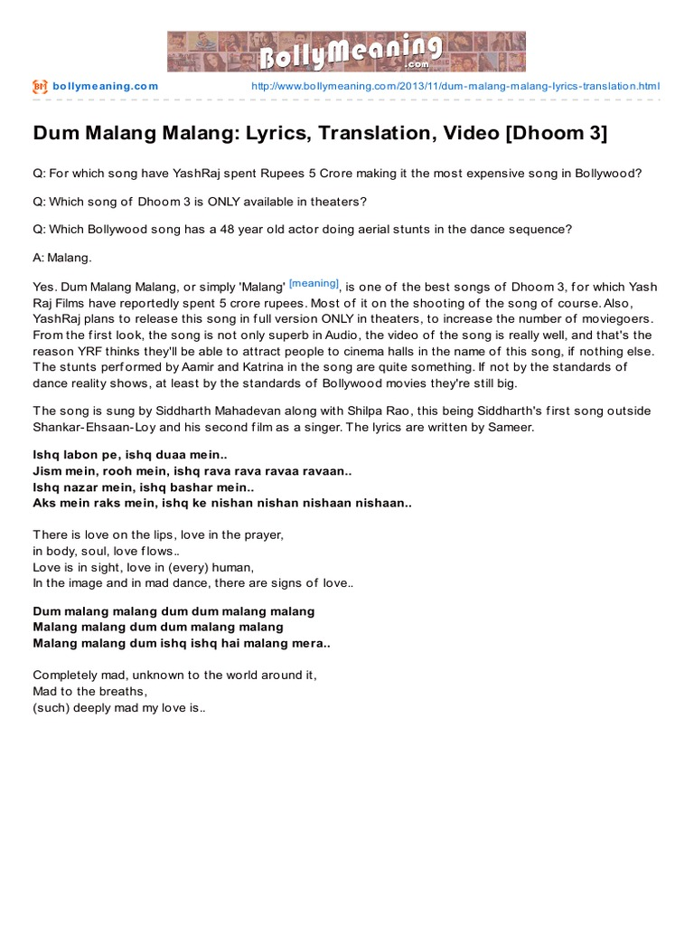 Bollymeaning Com Dum Malang Malang Lyrics Translation Video Dhoom 3 Bollywood Music