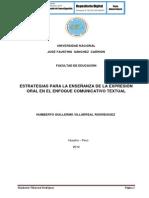 ESTRATEGIAS PARA LA ENSEÑANZA DE LA EXPRESIÓN ORAL EN EL ENFOQUE COMUNICATIVO TEXTUAL
