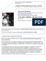 Hall, Stuart. (2011) the Neo-Liberal Revolution. Cultural Studies 25-6, 705-728