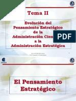 Tema II Evolución del Pensamiento Estratégico de la Administración Científica a la Administración Estratégica - Dirección Estratégica