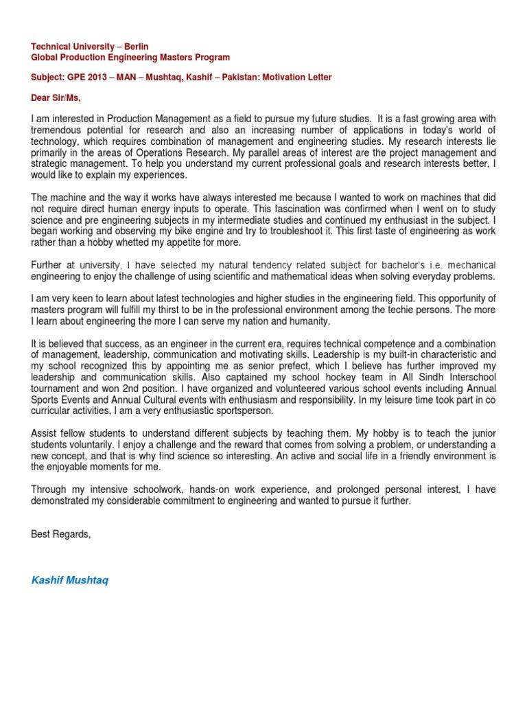 motivation letter engineering self improvement