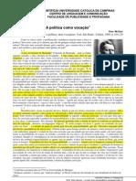 Excertos de A politica como vocacao, de Max Weber