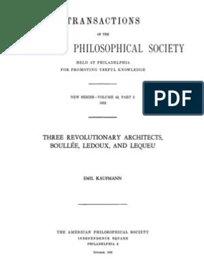Kaufmann Emil Three Revolutionary Architects Boullee Ledoux