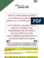 A-H1N1 - Québec - Lettre confidentielle adressée aux CLSC de la province