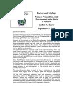 Thayer South China Sea Joint Development Proposal