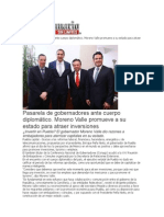 09-01-2014 El Semanario - Pasarela de gobernadores ante cuerpo diplomático. Moreno Valle promueve a su estado para atraer inversiones