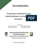 Proyecto de Producción de Yogur Industrial