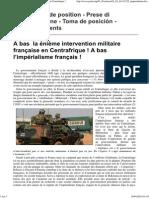 A bas la nième  l'intervention militaire en Centrafrique