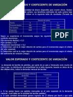VALOR ESPERADO Y COEFICIENTE DE VARIACIÓN