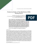 Productivity Studies of Ultra High Density (UHD) Stitching Process
