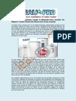 Installation Réservoir Eau Chaude | L'eau Pro