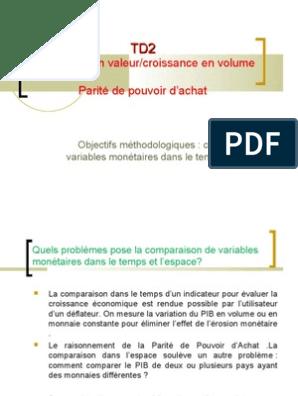 Td 2 Euros Courants Constants Ppa Parite De Pouvoir D