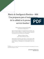 Artículo  Matriz de Inteligencia Hotelera MIH  Una propuesta para el mejoramiento de la calidad en la prestación del servicio hotelero  2013
