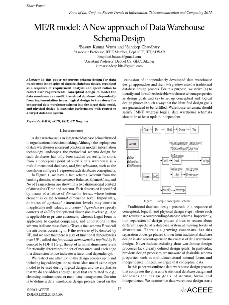 ME/R model: A New approach of Data Warehouse Schema Design