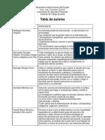 tabla de autores del primer semestre
