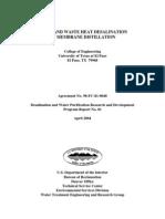 Solar and Waste Heat Desalination by Membrane Distillation