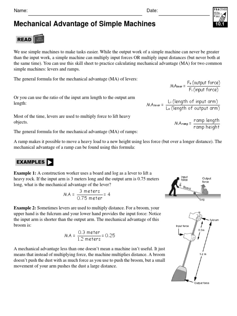 worksheet Calculating Mechanical Advantage Worksheet With Answers 10 1 mechadvsimpmach lever machines