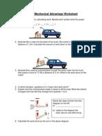 Work and Mechanical Advantage Worksheet