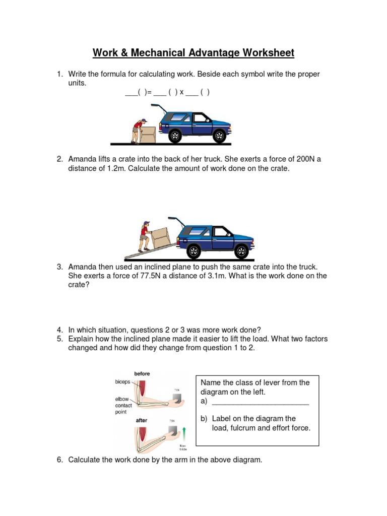 Work and Mechanical Advantage Worksheet | Lever | Classical Mechanics