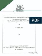Govt Rejoinder to LoP on State of Nation Address 1 Aug.2013